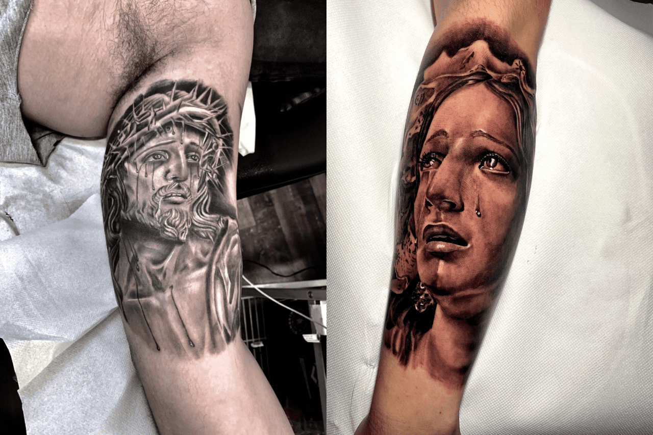 immagine tattoo religiosi: gesù cristo e la madonna