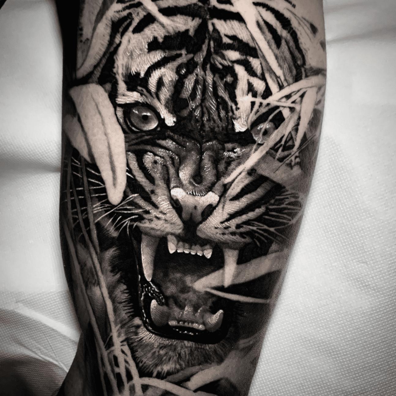 Tatuaggi realistici a roma: tiger black and grey